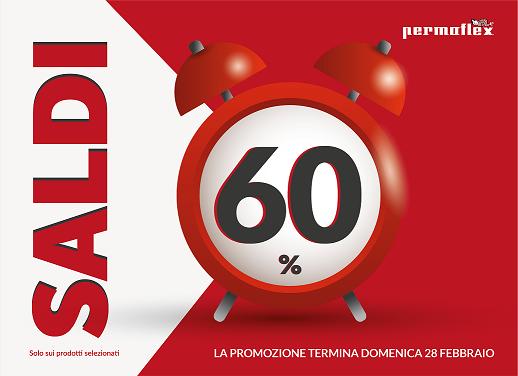 """Continua la campagna pubblicitaria di Permaflex con la promozione """"Saldi al 60%"""" valida dal 1 al 28 febbraio."""